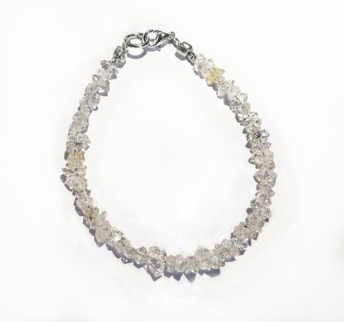 8 inch Herkimer Diamond Quartz Crystal Bracelet - Help you stay in the now