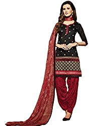 Leranath Fashion House Womens Pure Chanderi Material Black, Red Dress (LE2-268SUN-2)