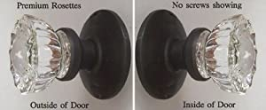 One Pair Depression Crystal French Door Dummy Knobs with Oil Rubbed Bronze Hardware. Premium Rosettes - No exposed screws. Easy Mount with our exclusive Self centering hardware