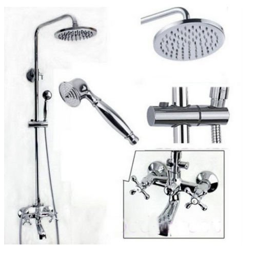 Bathtub Shower Faucet Chrome, Polished Chrome Exposed Rain Shower Faucet Bathtub Sink Mixer Tap Hand Shower , Bathtub Shower Faucet Set (Brush Nickel Bathtub Faucet compare prices)