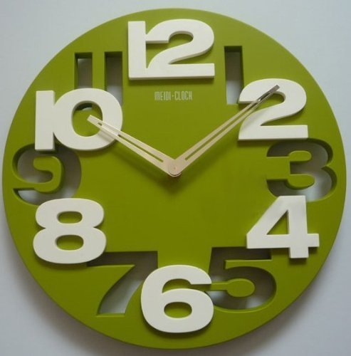 3D Big Digit Modern Contemporary Home Decor Round Wall Clock Green (GREEN, 1) - Childrens Clocks