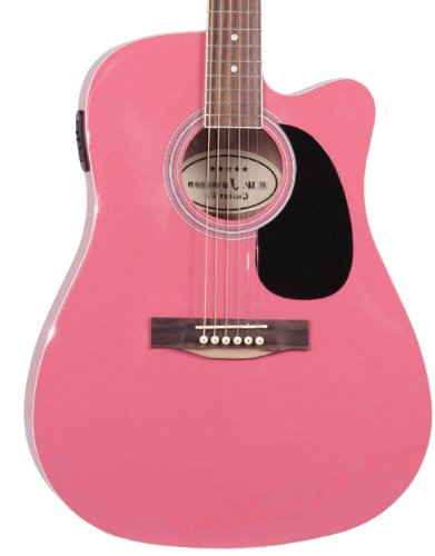 Pink Full Size Thinline Acoustic Electric Guitar With Free Gig Bag Case and Picks (Full Size Thinline Acoustic compare prices)