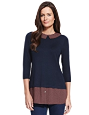 M&S Collection Peter Pan Collar Mock Layered Jumper