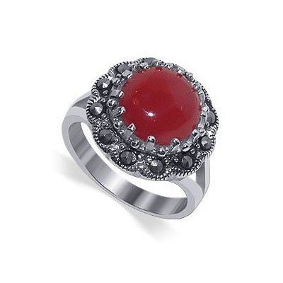 Gem Avenue 925 Sterling Silver Round Red Simulated Coral and Marcasite Ring (Coral Rings compare prices)