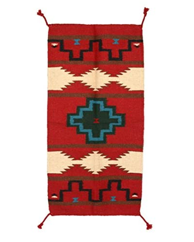 """Uptown Down Fine Woven Wool Rug, Red/White, 3' 4"""" x 1' 8"""""""