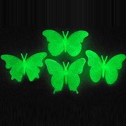 [Free Shipping] Set 4 Fluorescent Glow In Dark Butterfly Plastic Wall Sticker // Set 4 resplandor fluorescente en mariposa oscura etiqueta de la pared de plásti
