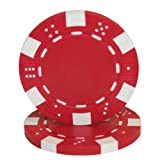 Brybelly 50 Red Clay Composite Striped Dice 11.5 Gram Poker Chips