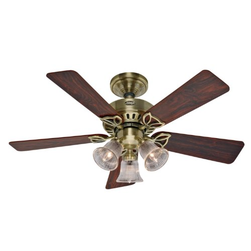 Hunter 20430 42-Inch Beacon Hill Three-Light Five-Blade Ceiling Fan, Antique Brass with Clear Globes
