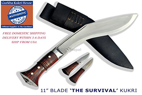 "Authentic Gurkha Knife - 12"" Blade World War II 'the Survival alive' Kukri Full Tang with Black Leather Sheath-Handmade by"