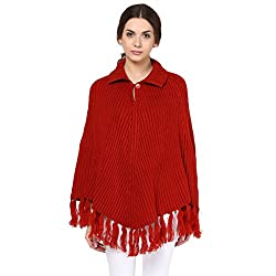 Cayman Rust Solid Woollen Poncho