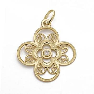 18K yellow gold flower pendant zirconia shed 22 × 19 mm.