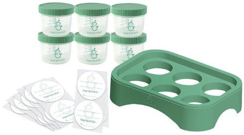 Baby Food Storage Containers by Sage Spoonfuls - Includes Six (6) 4 oz BPA Free Jars, 30 Labels, and Tray