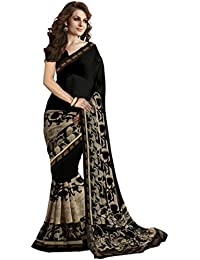 Jaanvi Fashion Women's Designer Georgette Black Printed Saree