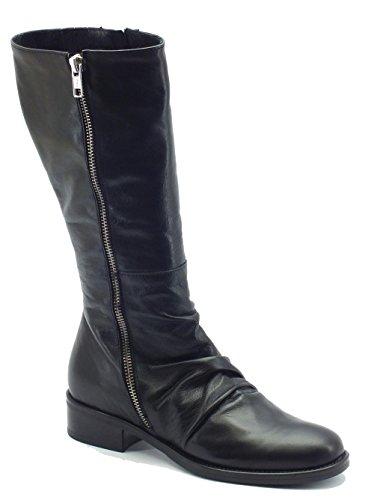 Stivali Mercante di Fiori per donna in pelle nera arricciata (Taglia 41)