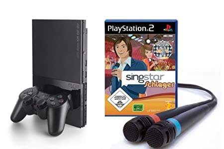 PlayStation 2 - PS2 Konsole, black inkl. SingStar Schlager + Mikrofone