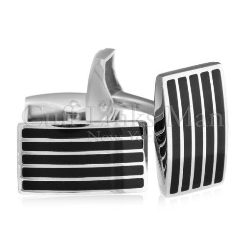 Flawless Black Enamel Grille Cufflinks-CL-0071