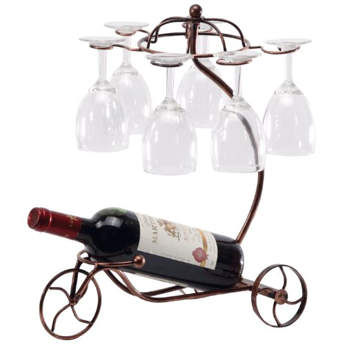 Vintage Parisian Style Bronze Tricycle 6 Wine Glass & Bottle Server Display Rack Organizer Stand -MyGift (Wine Servers compare prices)