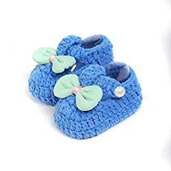 Baby Oodles Cobalt Blue Crochet Art Baby Booties With Bow
