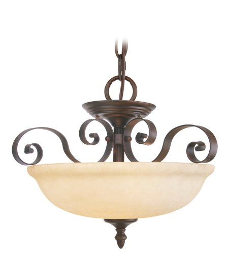 Livex Lighting 6149-58 Manchester 3 Light Imperial Bronze Chain Hung / Semi Flush with Vintage Alabaster Glass