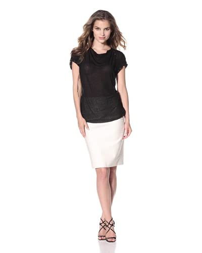 Nina Ricci Women's Short Sleeve Top with Grommet Detail  - Black