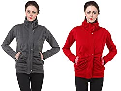 PURYS Slim-Fit Women Fleece Jacket Combo