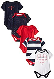 Nautica Baby Girls\' Assorted Print Bodysuits 5 Pack, Multi, 0-3 Months
