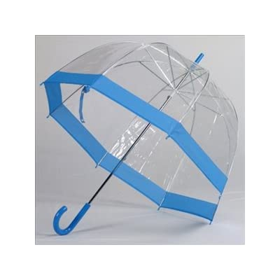 Clear Bubble Umbrellas Blue Trim
