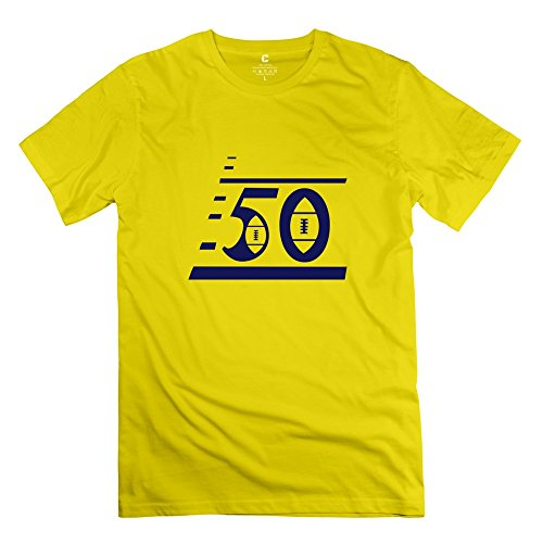 Tasy 100% Cotton Men'S Custom Football Uniforms Number 50 T-Shirt - S Yellow