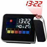 HawksTech HotItem LCD Screen LED Projection Alarm Clock/ Weather Station Clock with Colorful LED Backlit (Black)