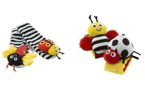 Lovely Baby Rattle Toys Garden Bug Wrist Rattle + Foot Socks 4 Pcs a Set