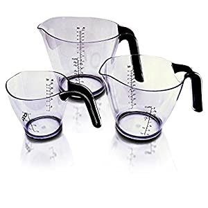 Measuring Cup Set - 3 Pieces - High Quality, Transparent Kitchen Utensils/Accessories With Universal Cup, Ounce & Millimeter Markings - Easy To Use & Clean With Soft Rubberized Handle