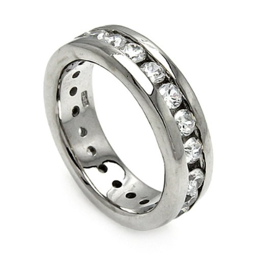 Rhodium Plated Sterling Silver 6.5mm High Polish Channel Set Cubic Zirconia Eternity Wedding Band Ring (Sizes 5 to 9) - Size 7
