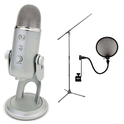 Blue Microphones Yeti Usb Condenser Plug-And-Play Microphone With On Stage Boom Microphone Stand And Pop Filter