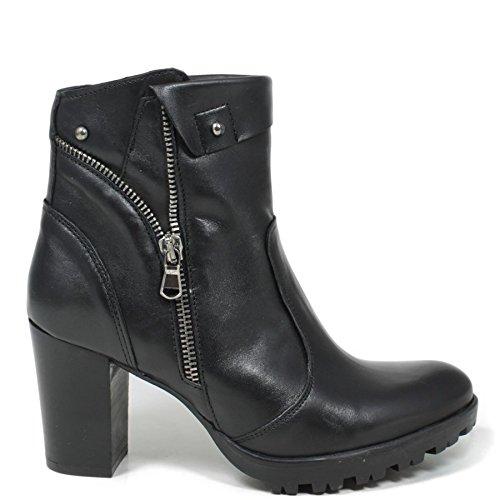 Tronchetti Stivaletti Ankle Boots Donna In Time 0168 Nero in Vera Pelle Made in Italy