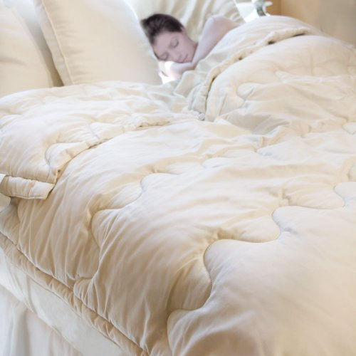 Lifekind Certified Organic All-Season Natural Wool Comforter - King (Ivory) front-70325