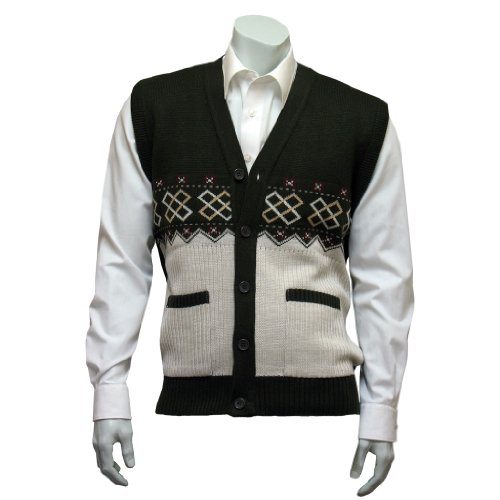 Men's Patterned Button Sleeveless Cardigan - Brown