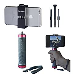 RetiCAM Smartphone Tripod Mount with Hand Grip - All Metal Heavy-Duty Hand Held Stabilizer and Tripod Mount for Smart Phones and Cameras - HG30, Aluminum, Red