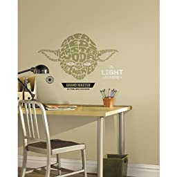 RoomMates Star Wars Typographic Yoda Peel and Stick Giant Wall Decals