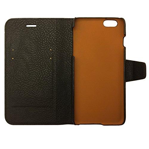 Exinoz iPhone 6/6S Plus Case, 100% Genuine Leather Wallet Case [BLACK]