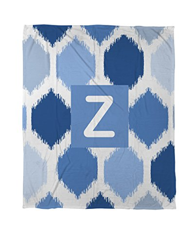Thumbprintz Duvet Cover, Twin, Monogrammed Letter Z, Blue Batik front-476612
