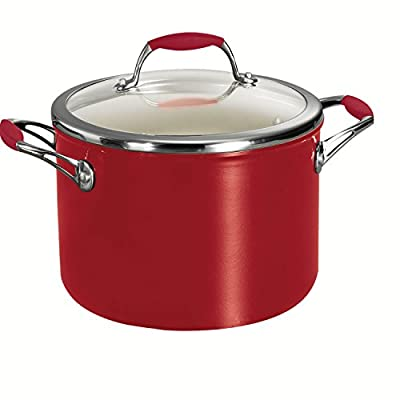 Tramontina 80110/065DS Gourmet Ceramica 01 Deluxe Covered Stock Pot, 6-Quart, Metallic Red
