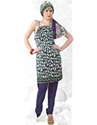 Exotic India Green And Blue Printed Choodidaar Suit With Rectangular Blo - Green