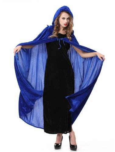 Halloween Adult Cosplay Costumes Women Masquerade Party Cos Hooded Cloak Blue
