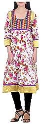 BleuIndus Women's Cotton Straight Kurta (KRT-366_XL, Multi-Coloured, XL)