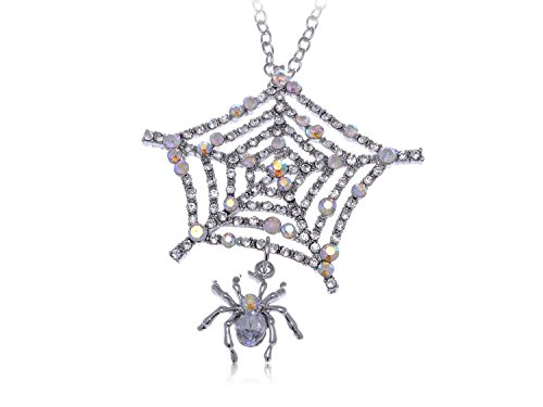 Alma, Fashion Spider Web Colorful Clear Crystals Pendant Necklace Silver Tone (Spiderweb Rhinestone Necklace)