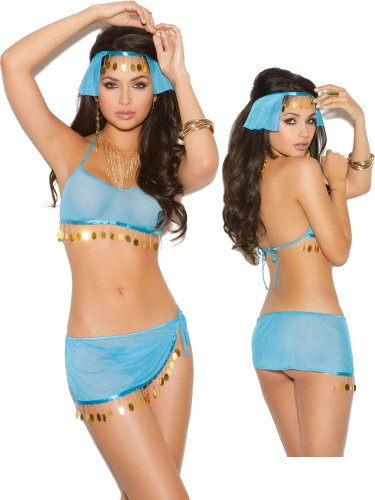 Sexy Sheer Blue Harem Girl Belly Dance Costume Lingerie Set