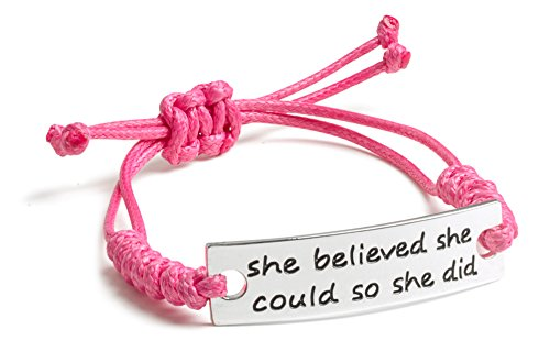 She-believed-she-could-so-she-did-Inspirational-Silver-Plated-Pink-Adjustable-Bracelet