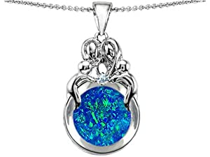 Star K Loving Mother and Family Pendant Round 10mm Created Blue Opal