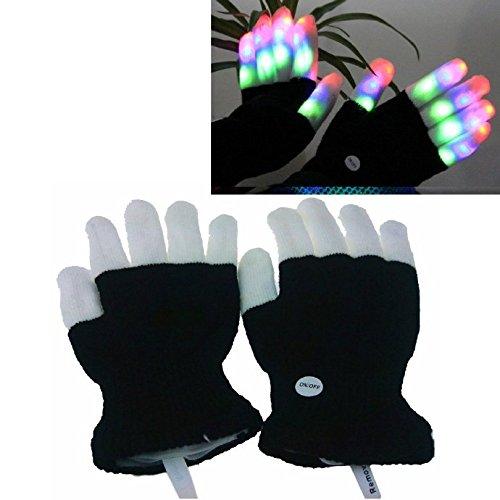Flashing Finger Lighting Gloves LED Colorful Rave Gloves(Black and White)