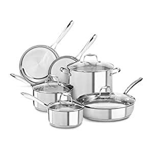 KitchenAid KCSS10LS Stainless Steel 10-Piece Cookware Set